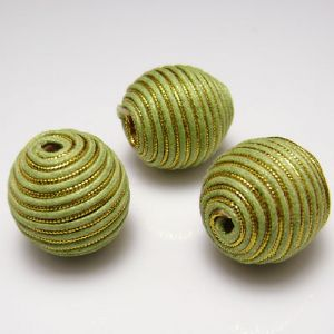 Beads, Nylon thread and Wood, Green-Yellow, Round shape, Diameter 20mm, 1 Bead, (XXQ0015)